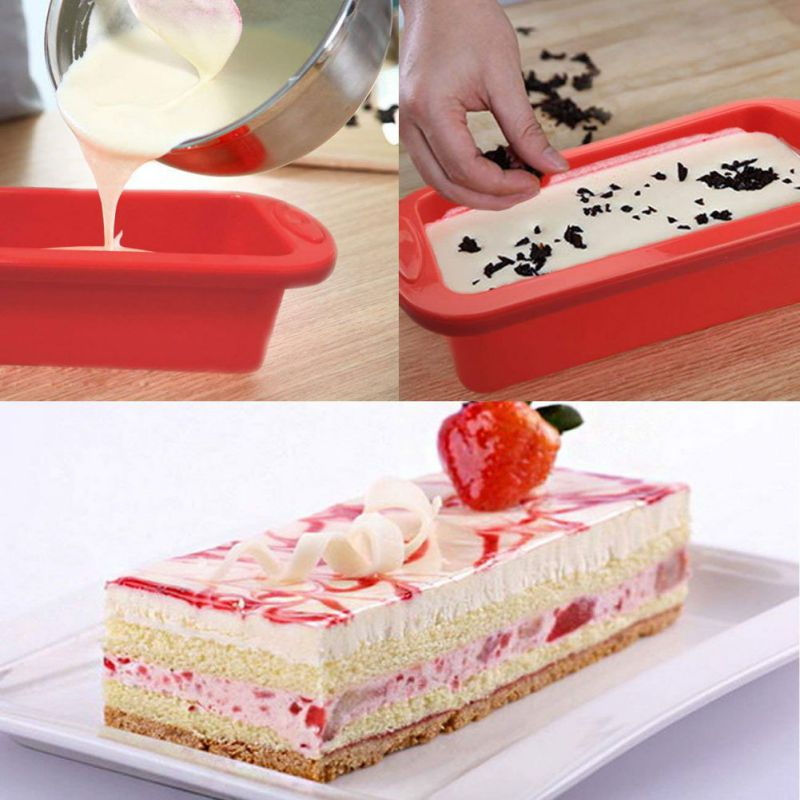 US Rectangular Toast Bread Silicone Baking Cake Mould Mold Pan Bakeware Tool New 20